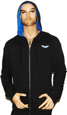 Rich Yung Men's Black Zip-Up Hoodie w/Blue - Nice & Comfortable - NWT - AG-130
