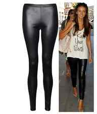 New Hot Ladies Sexy Shiny Wet Look Black Leather Full Ankle Length Leggings