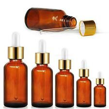 Hot Amber Round Glass Liquid Reagent Bottle With Dropper Drop Essential Oil MKLG