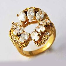 Womens Yellow Gold Filled Oval Crystal CZ Big cocktail Band Ring Size 7 8 9