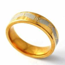 Womens Mens Yellow Gold Filled Silver plated Carve number Band Ring Size 8-12