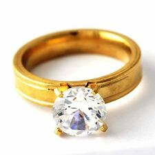 Womens Engagement Wedding Yellow Stainless Steel Crystal love Ring Size 6-9