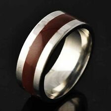 Trendy Womens Mens Stainless Steel Brown Enamel Interval Band Ring Size 8 9