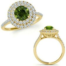 1 Carat Green Diamond Double Halo Engagement Fancy Band Ring 14K Yellow Gold