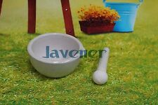 Porcelain Mortar and Pestle Mixing Grinding Bowl Set White Lab Kit Tools