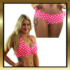 Juicee Peach Pink Polka Dot Halter Top and Tie Side Booty Shorts Set