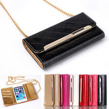 NEW Glossy Diamond PU Leather Card Pocket Purse Wallet Case For iPhone & Samsung