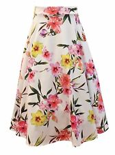 Womens Ivory Floral Knee Flare Full Circle 50s Retro Party Skirt Size 8 10 12 14