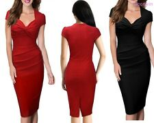 Women Cap Sleeve Ruched Classy V-Neck Business Casual Cocktail Sheath Dress