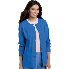 Scrubs Landau Womens Snap Front Warm-Up Jacket 3035 Royal FREE SHIPPING!