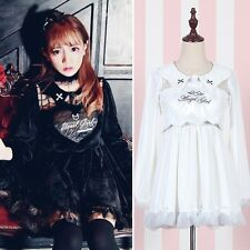 Cute Girl Fake Two-piece White Angel Or Black Devil Embroidery Long Sleeve Dress