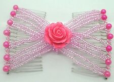 Hand Beaded Hair Jewelry Double Combs Flower Magic Hair Clips Beauty Hair combs