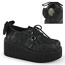 Demonia Creeper-212 Black Lace Platform Shoes - Gothic,Goth,Punk,Black,Creepers,