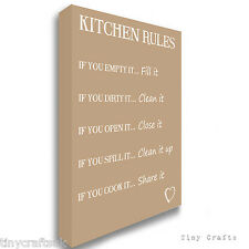 KITCHEN RULES - Family Quote - Beige Canvas Print Picture Wall Art