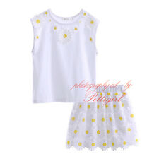Girls Daisy Party Outfit Kids Summer Sleeveless T-shirt/Top & Skirt Set 3-12 Yrs