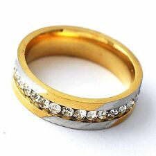 Vintage Bright Cubic Zirconia 14K gold filled White Plated Ring Size 7-11