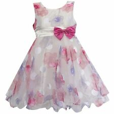 Girls Dress Flower Bow Tulle Party Pageant Wedding  Kids Clothing Size 2-8