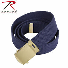 NAVY BELT WITH GOLD BUCKLE 100% Cotton Military Web Belts Rothco 4294