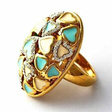 Womens Heart Blue White Enamel 14K gold filled Cocktail  Band Ring Size 7-9