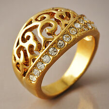 Womens Cubic Zirconia 14K gold filled Flower Patterned Band Rings Size 6-8