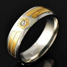 Wedding Womens Titanium Gold Plated Clear Crystal Band  Ring Size 8-11