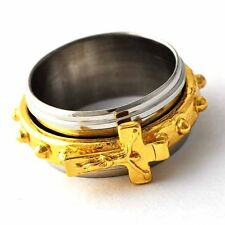 Mystic Mens Stainless Steel Cross Gold Plated Spinner Punk Band Ring Size 8-12