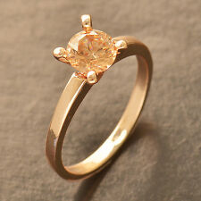 Champagne CZ Rose Gold Filled Wedding Engagement promise love Ring,Size 6 7 8 9