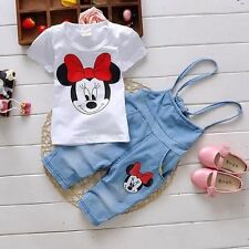2Pcs Baby Girls Minnie Mouse T-shirt Tops + Braces Jeans Set Kids Casual Outfits