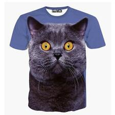 Funny Unisex 3D Graphic Cat Animal Digital Printed Sport Casual T-Shirt Tops Tee