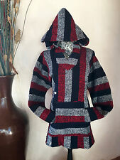 Mexican Baja Hoodie Surfer Skater Jacket Pullover Red White & Blue