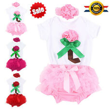 3pcs Rose Flower Newborn Baby Girls Romper Dress Outfits Skirt Dress Set Clothes