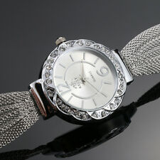 Women's Bangle Bracelet Stainless Steel Crystal Dial Analog Quartz Wrist Watches
