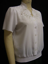 PLUS SZ EMBROIDERY COLLAR/CUFF, BUTTON FRONT, S/ SLV SMOCK BTM P/O BLOUSE 6413W