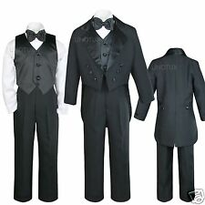 Infant Toddler & Boy Formal Tail Tuxedo Suit Black 4 Wedding B-day Party S M-20