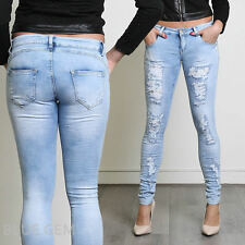 Sexy Women's Ripped Torn Destroyed Look Skinny Slim Fit Jeans Trousers with Lace