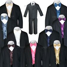 Boys Baby Toddler Kid Teen Formal Wedding Black Suit + Extra Vest & Bow Tie S-20