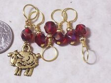sheep knitting stitch markers, silver pewter charm,4,5,6.5,8mm sizes, no snag,