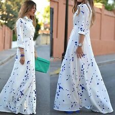 White Fashion Women Chiffon Long Sleeve Polka Dot Long Maxi Shirt Dress New EA77