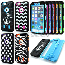 Armor Hybrid Pattern Skin Soft Tough Combo Matte Case Cover For iPhone 6 6S Plus