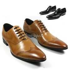 Men Genuine Leather Oxford Leather lace up Slip On Formal dress Shoes New Boots