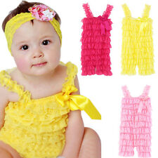 New Cute Baby Toddler Girls Summer Layered Lace Ruffle Petti Tiered Romper P612