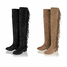 Womens ladies over knee high fringe faux suede boho festival boots shoes size