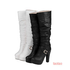 Womens Girls Knee High Boots Strappy High Heels Shoes Platform AU Size TB1547