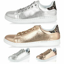 Womens Ladies Glitter Lace up Girls Sparkly Trainers Gym Pumps Sneakers Shoes