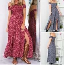 New Womens Sexy Summer Boho Off Shoulder Floral Split Beach Holiday Maxi Dress
