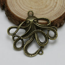 2/10/30pcs Antique Bronze Plated Octopus Earring Charm Pendant Connector 50*45mm