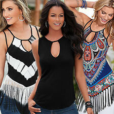 New Sexy Women Summer Tassel Fringe Vest Ladies Strappy Casual T-shirts Tee Tops