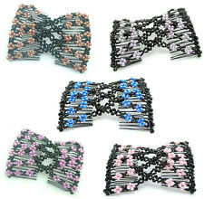 Stretch Flower Bow Glass Bead Hair Head Comb Double Hair Combs Cuff Double Clip