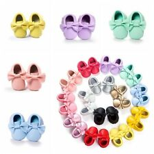 Unisex Baby Bow Soft Sole Leather Shoes Infant Boy Girl Toddler Moccasin 0-18M