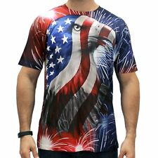 Mens Bald Eagle TShirt American Flag Fireworks Patriotic S M L XL 2XL NEW